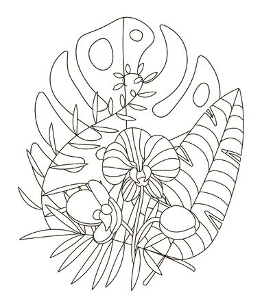 Hand drawing coloring pages for children and adults. Linear style flower coloring book for creative creativity. Antistress coloring book with tropical flowers, protea, orchid, monstera, palm.