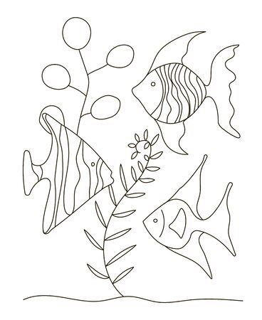 Hand drawing coloring pages for children and adults. A beautiful beautiful coloring book in a linear style. for creativity. Antistress coloring book with tropical fish, algae, ocean, underwater world.