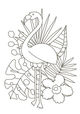 Hand drawing coloring pages for children and adults. A beautiful linear drawing for coloring with paints or pencils and creativity. Coloring book with tropics and the jungle. Flamingo among palm.