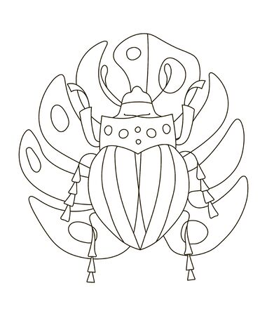 Hand drawing coloring pages for children and adults. A beautiful artwork for creativity. Antistress coloring book with beetle among tropical jungle twigs on monstera sheet. Illustration