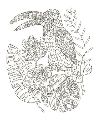 Hand drawing coloring pages for children and adults. A beautiful pattern with small details for creativity. Antistress coloring book with toucan,tropical flowers, orchid, monstera, palm.