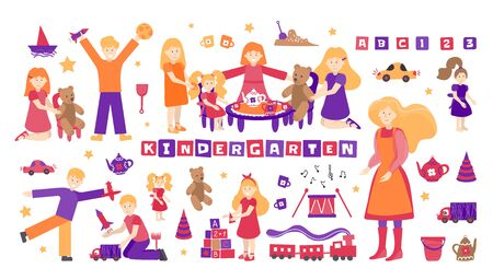 Vector set kindergarten, children play and nanny. Illustration designer for kindergarten, toy store, baby-sitter, school. Collection of people and objects isolated on white background. Girls play with tea dolls, boys in cars, planes, rockets