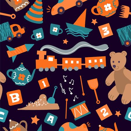 Vector seamless pattern with toys for children. Red and green children's items on dark background for a children's store, kindergarten, packaging of children's goods, children's textiles for boys.Background, design of goods for children, textiles, baby textiles. Illustration