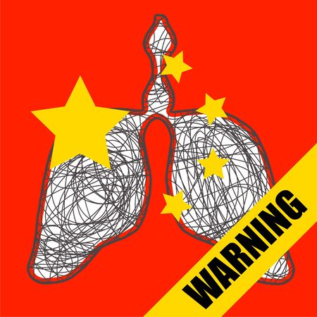 Lungs on the red background of Chinese symbolism, the epidemic of coronavirus pneumonia Ilustração