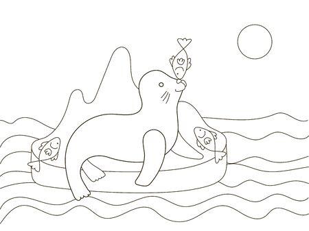Vektorschönes Malbuch für Erwachsene und Kinder mit einem Pelzrobben und Fisch auf der Insel zwischen den Wellen. Eine Reihe von Malbüchern mit Meerestieren. Minimalismus und einfache Linien, Silhouette von Fischen. Kreativer Biologieunterricht.