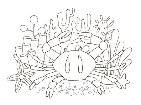 Vector beautiful coloring book for adults and children with crab and fish among algae, starfish and corals. A series of coloring books with marine animals. Vector illustration of Cartoon crab - Coloring book
