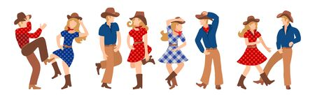 Vector illustration of a group of cowboys and cowgirls in western country dancing a line of dance. Couples man and woman dancing a cheerful dance in American folk style
