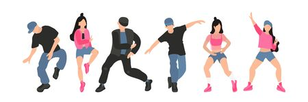 Vector hand drawn set of attractive girls dancing booty dance.Young and handsome guys and girls dancing hip hop in street style. Modern dance flat. Body positive and hobby of people