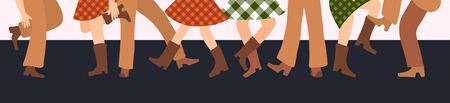 Vector illustration horizontal banner with male and female legs in cowboy boots dancing country western on a dark background in flat style. Checked dresses and and dynamic foot poses.