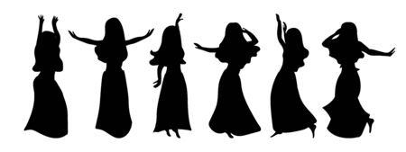 A windy outfit of six illustrations of silhouettes of beautiful girls dancing belly dance. Graceful restful beauties in different poses on a white background. The logo of the dance school, the element of design for party design in oriental style. Vettoriali