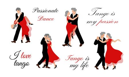 Illustration vector set of old people dancing in flat style on a white background. A vigorous old man and an old woman with gray hair dance a beautiful dance, like young ones. Motivational lettering in vintage style. I love tango.