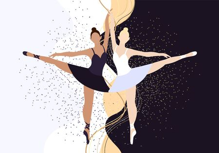Vector illustration two girls ballerinas dancing in flat style. Beautiful and graceful women dancing at a dance stand. Bundle of pointe shoes and a bunch of hair. Black and white swan. Confrontation of two forces. Design of a dance school, Poster, invitation, animation, banner. Archivio Fotografico - 139931574