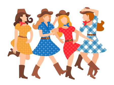 Illustration of a featured young girl dancing country style flat style. Beautiful and cheerful women dance in American tradition. Hats, plaid dresses, cowboy boots. Dance school design, poster, invitation, animation, banner. Vetores