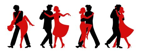 Vector set of silhouettes of couples dancing tango. Black silhouette of a man and red silhouette of a woman. Passionate girl and handsome man in four versions of the dance