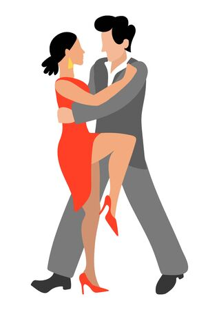 Vector illustration with a passionate couple who dance tango in flat style. A woman in a high heeled dress and a man in a gray suit are dancing together. Brunette and brunette froze in a beautiful pose. Poster, flyer, invitation, dance school design