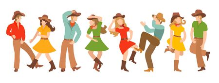 Collection of vector illustrations with pairs of country dancers. Blondites in colorful traditional clothes dance in the American style. Design or poster for cowboy party, western dance school, team logo