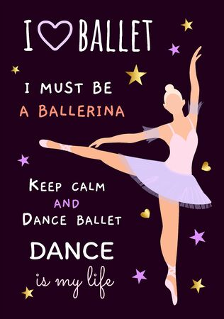 Vector illustration with a ballerina blonde in a purple dress on a dark background. Poster, flyer, invitation, dance school product design, teaching plastic and choreography. Body ballet as a hobby of ordinary people. Slogans about ballet Archivio Fotografico - 140199793
