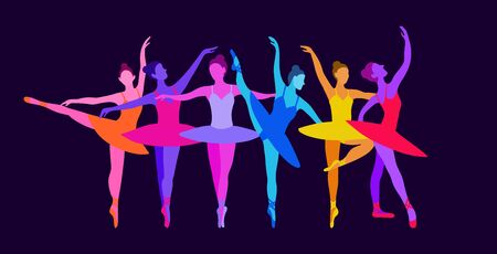 Dancing girls ballerinas in neon colors on a dark blue isolated background. Vector illustration of beautiful women dancing graceful dance in flat style