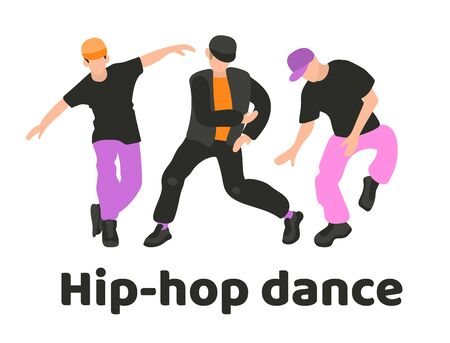 A collection of three men dancing hip hop s. Youth dance of modern teenagers. Hip-hop dance, poster of dance school, breakdance competitions, turnip, festival. Young guys Isolated on a white background in flat style Stock Illustratie