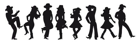 Silhouette of a couple dancing a country western on a white isolated background. All girls and boys are dancing an incendiary American dance. Four funny pairs of people in black. Cowboy hats, boots and dance moves