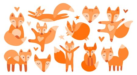 Vector collection of 11 illustrations with cute chanterelles. Red beautiful foxes on a white isolated background. The fox sleeps, sits, runs, hugs, jumps, the muzzle of a kind wild beast