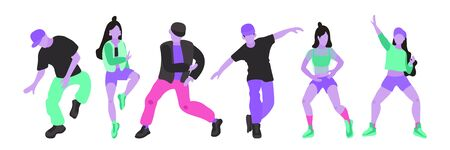 Vector collection of illustrations of girls and guys in modern clothes on a white isolated background. Hip hop and break dance dance Acidic and toxic bright colors and modern flat style Stock Illustratie