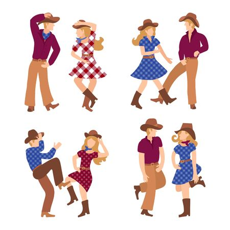 Four couples of cheerful people who dance western dance in boots and traditional American clothes. Vector illustration for competition, dance school poster or party