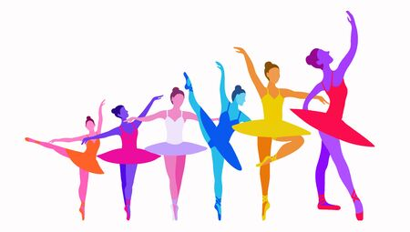 Dancer growth concept on a white background in bright colors. Vector illustration of six ballerinas grow up on a white background. A horizontal banner for a dance school to show success, work on oneself, the daily work of a dancer or athlete Vettoriali