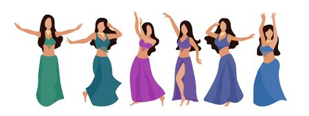 Group of belly dancers with a multicolor shawl on a white isolated background. Beautiful brunette women dance oriental dance. Vector set of six flat style dancers. Poster for a dance school, competition, dance show
