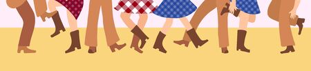 Female and male legs in cowboy boots are knitted on a flat floor in a flat style. Vector illustration for a horizontal banner with tatsors in the American style. Western dance of people in traditional clothes Vetores
