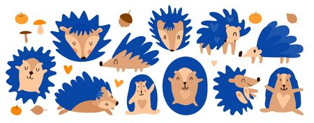 Vector cheerful set of little blue hedgehogs. Cute cartoon hedgehog based on the movie Sonic X. Forest animal sleeps, runs, lies. Penning on children's textiles, toys