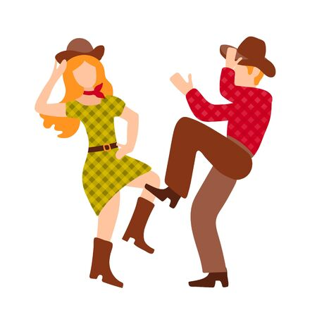 Vector illustration with cowboy and cowgirl dancing country western dance, isolated on white background. Clip art for a poster of a dance competition. Green, red and brown colors, retro couple in flat style. Vetores