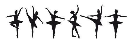 Set of six silhouettes of poses of ballerinas. Vector graphics for the design of posters, banners, advertising courses. Graceful black dancers on a white background isolated