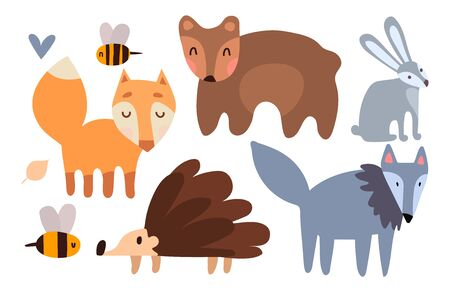 A hare, a hedgehog, a fox, a wolf and a bear bear run one after another. Cute forest animals in clip art horizontal format. Vector illustration for printing on children's textiles, t-shirt, toys, clothes.