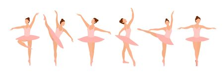 Six ballet dancers standing in a flat design pose on a white background. Vector illustration of ballerinas in special dance dresses. Clip-art for feeding posters of the ballet school, courses, shows Stock Illustratie