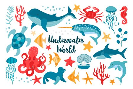 Set of sea animals in flat style hand drawn. Vector clip-art for the design of children's products. Fish, jellyfish, corals. Beautiful underwater world in red and blue colors Illustration