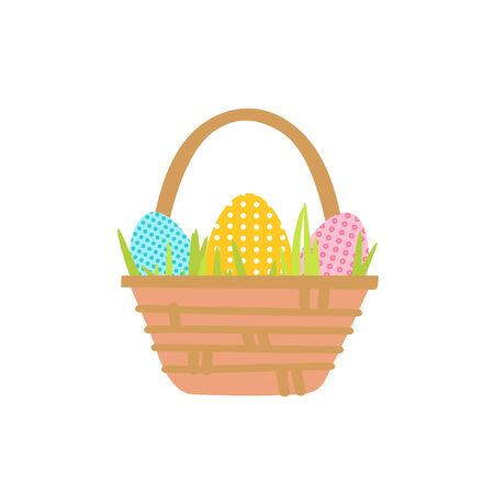 Vector illustration Basket with Easter eggs isolated on a white background. Three polka dot eggs and green grass etched flat style drawn by hand.Clipart for decoration of a poster, card, sale, invitation.