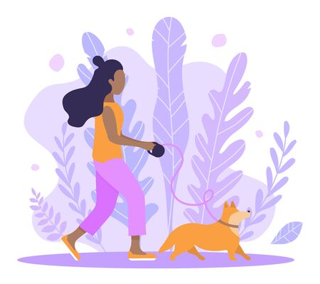 Vector abstract violet background and afro black girl walking with dog corgi. Spring illustration for creating a romantic mood. Illustration of articles for pet owner, pet stores, dogsitter. Graphics in flat style hand drawn