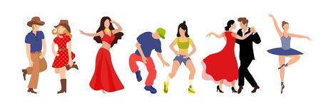 Vector set of clip-art professional dance couple dancing tango, country, hip hop, belly dance, ballet. Illustration of a flat faded style for the design of a competition poster or dance school Ilustración de vector