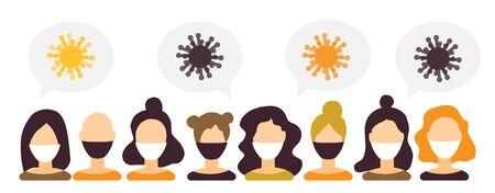 Coronavirus epidemic worldwide, Novel coronavirus medicine news 2019-nCoV , women and men medical face mask. Concept of coronavirus quarantine and people in flat style. Infographics for news and banne