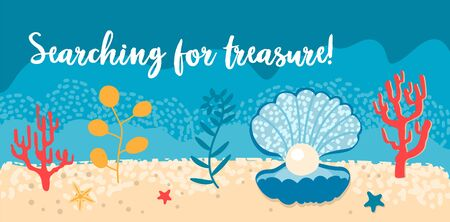 Vector set of sea ocean horizontal banners. Shell with pearls, algae, starfish and underwater wild life. Summer holidays and party. Lettering Searching for treasure