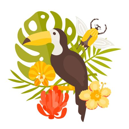Cute toucan vector illustration for printing on textiles, cards, clothes. A beautiful exotic bird sits on a branch among the leaves of a monster and flowers orchid, salvia and hibiscus. Flying beetle. Aloha, Hawaiian and tropical themes.