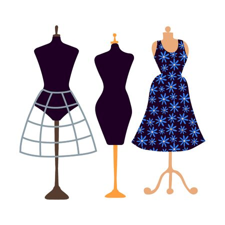Vector clip-art three female mannequins. Black female figure with skeleton skeleton, simple mannequin and dress on a hanger. Flat illustration hand drawn on a white background. Business, atelier sewing, dressmaking and sewing threads.