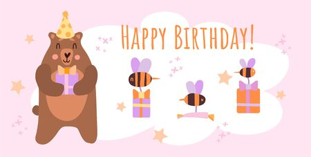 Birthday banner, holiday. Illustration in flat style with a big brown cute bear with a gift in a hat, a bee with gifts and sweets, the inscription happy birthday for invitation or greeting card