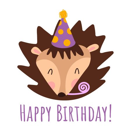 Cute spring Happy Birthday card with funny cartoon hedgehog, hat, whistle and place for your text. Vector kids illustration for resignation, invitation, congratulations. Happy birthday text.