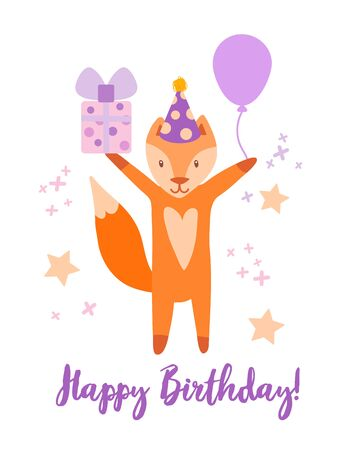 Cute spring Happy Birthday card with funny cartoon fox with a hat, whistle and place for your text. A gift and a ball in the paws of a waiting animal. Vector kids illustration for resignation, invitation, congratulations. Happy birthday text