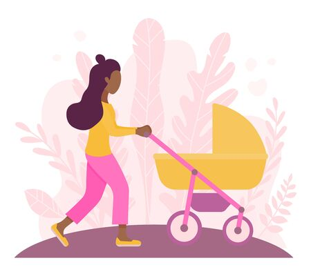 Young african american woman walking with her newborn child in an yellow pram. Modern flat style vector illustration. Young girl on a walk with a stroller and a child in nature. Walks in the open air