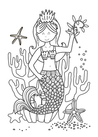 Coloring book for children and adults with a mermaid. Vetkron line illustration in black color. Coloring book book for adults and children in a cute cartoon style. The development of fine motor skills and creativity in schoolchildren. Marine series of tales.