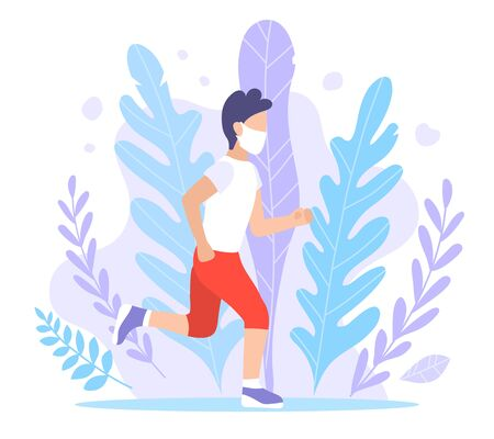 A sporty man walks in a mask. Vector flat style illustration of quarantine and isolation. A guy in sportswear and a jogging mask. Pandemic, Coronovirus Epidemic, Covid-19. Exercise in the fresh air. Vektorgrafik