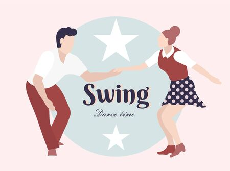 Party Swing Young couple dancing swing, rock or lindy hop. Retro in flat style hand drawn. Disc cover, social network, dance competition, illustration of dance courses. Time to dance